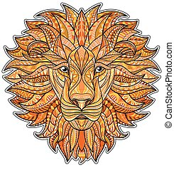 Detailed colored Lion in aztec style. Patterned head of the...