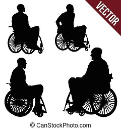 People in a wheelchair on a white background, vector...