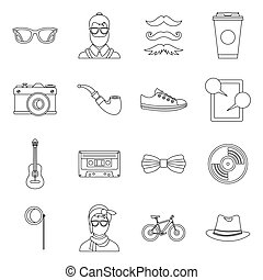 Hipster icons set, outline style