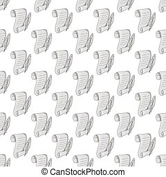 Scroll paper and feather seamless pattern