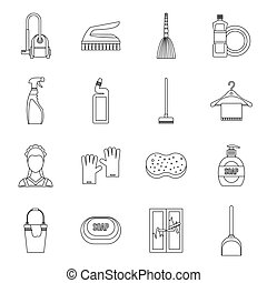House cleaning icons set, outline style - House cleaning...