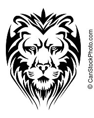 calm lion head - illustration of a calm lion head tattoo in...