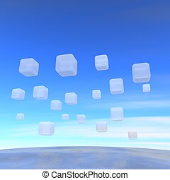 Wide ocean and flying transparent boxes. 3d rendered illustration.