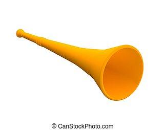 Orange vuvuzela trumpet. 3d rendered illustration.