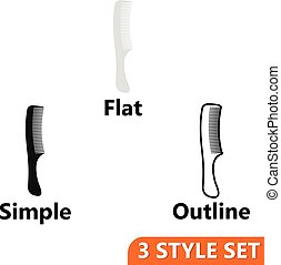 Hairbrush icons set in flat, simple and outline style...
