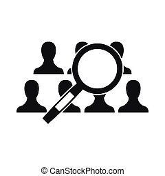 Magnifying glass searching icon, simple style