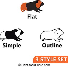 Hamster icons set in flat, simple and outline style isolated...