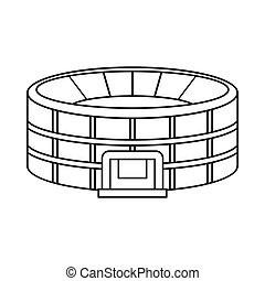 Stadium icon in outline style on a white background vector...