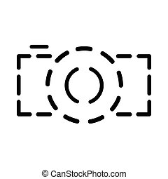 Photo camera dotted line icon, simple style - Photo camera...