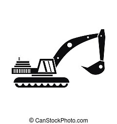 Excavator icon in simple style on a white background vector...