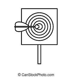 Red target and dart icon, outline style