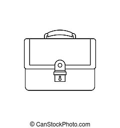 Briefcase icon in outline style on a white background vector...
