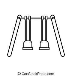 Playground swings icon, outline style - Playground swings...