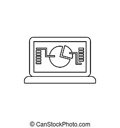 Laptop with business graph icon, outline style