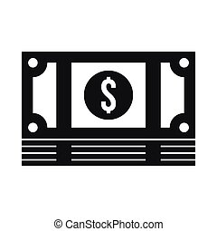 Stack of money icon, simple style - Stack of money icon in...