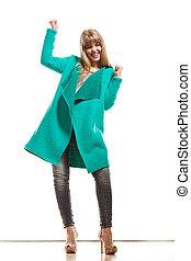 Full length fashion woman in green coat - Fashion Young...