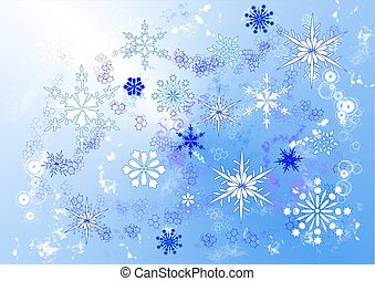 Snowstorm - A drawing of swirling snowflakes in various...