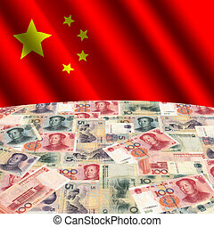 flag with Chinese yuan - rippled flag with Chinese yuan...