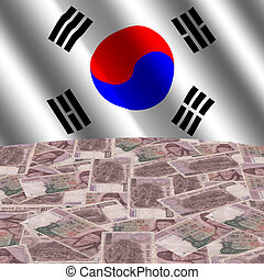 flag with korean currency
