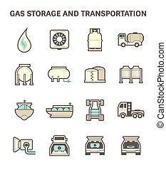 Gas transportation icon - Gas storage and transportation...