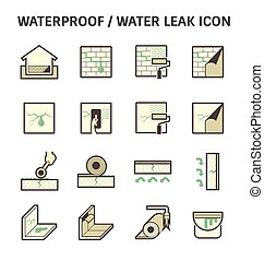 Waterproofing vector icon - Waterproofing and water leaked...