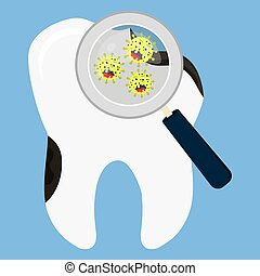 Tooth decay enlarged - Rotten tooth decay enlarged by a...