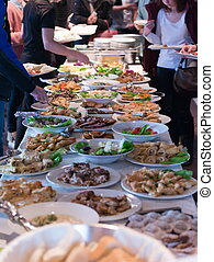 catering food table - people group catering buffet food...