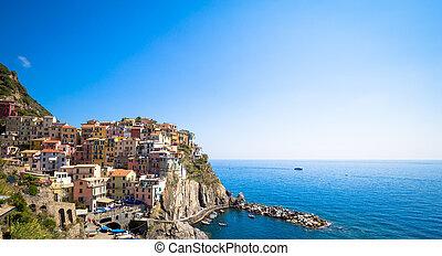 Manarola in Cinque Terre, Italy - July 2016 - The most...