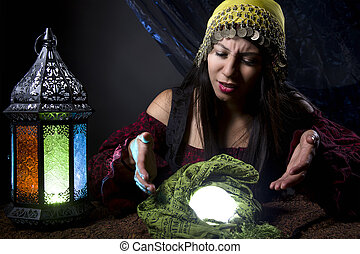 Confused of Upset Fortune Teller - Fortune teller looking...