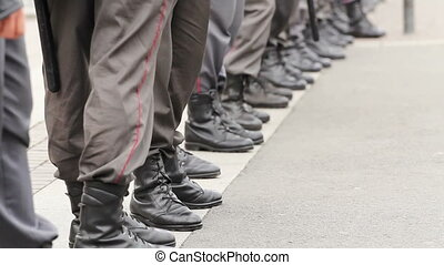 Police Cordon legs at an opposition meeting, Russia