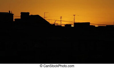 Building silhouettes at sunset