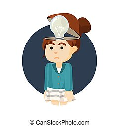businesswoman with non functional bulb head