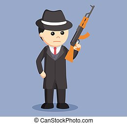 mafia holding rifle illustration design