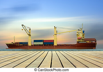 Cargo ship loading containers on schedule.