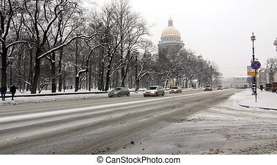 Cars in winter in St.Petersburg - Cars driving next to St....