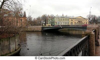 Old bridge on the river Moika