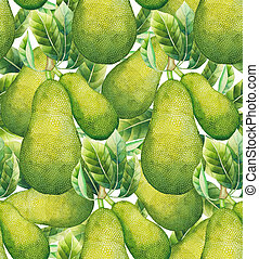 Watercolor jackfruit pattern