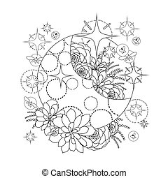 Moon with succulent design - Graphic moon with succulent...