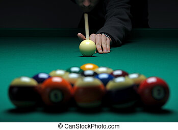 Balls on a pool billard table during play