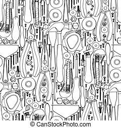 Hand drawn construction tools pattern - Hand drawn...