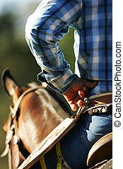 Un, vaquero, awaits, acción, mientras, Sentado, el...