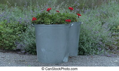Outdoor flower pots. - Outdoor grey metal flower pots.