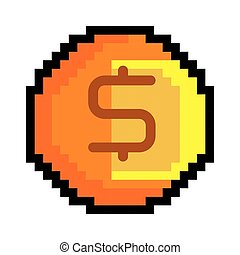 coin pixel figure - coin pixel game figure with money sign....