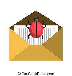 open yellow envelope with ladybug insect