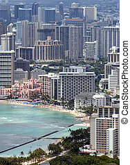 A landscape view of Honolulu, Hawaii looking down from...