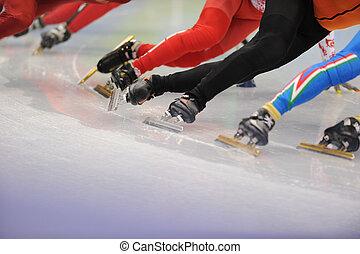 Ice-Skaters, piernas, cierre, Arriba
