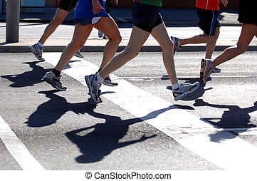 Groups of marathon runner in action