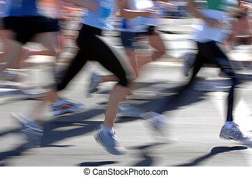 Groups of marathon runner in action