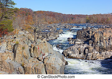 Potomac River in Great Falls park - Falls in the Potomac...
