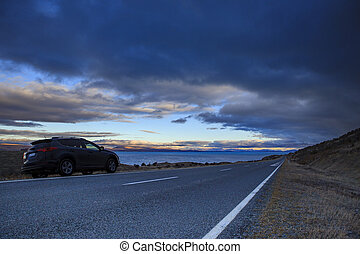 beautiful scenic of lake pukaki road to aoraki - south...